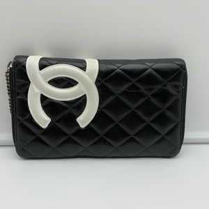 💯Auth Chanel Quilted Cambon Wallet Organizer